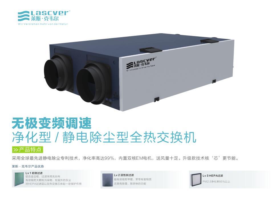 无极变频调速净化型/静电除尘型全热交换机
